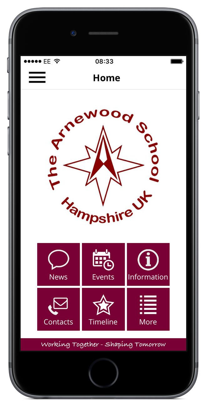The Arnewood App home screen.