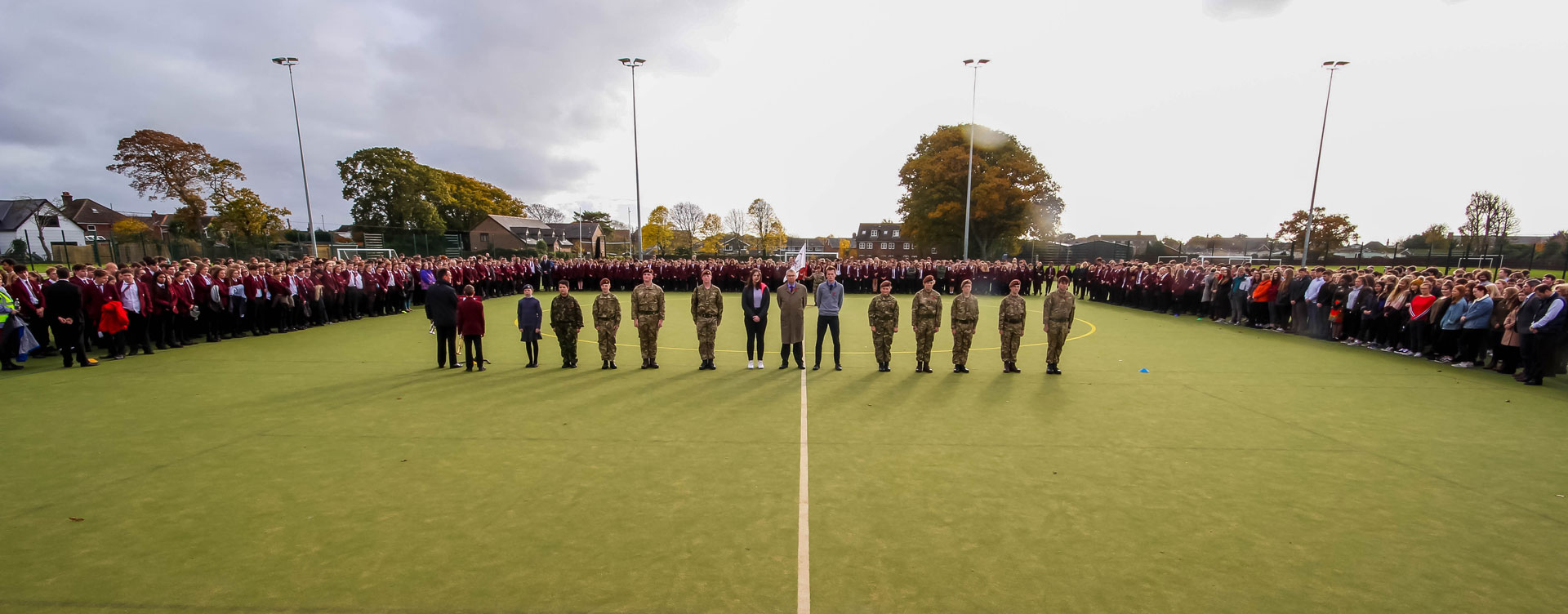 Arnewood Remembers with a 2-minute silence on the astroturf