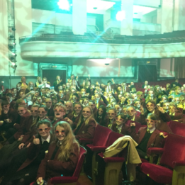 Students at Bournemouth Pavillion to watch pantomine, Jack and the Bean Stalk