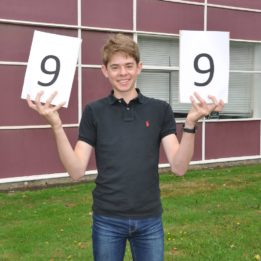 Joe Constable celebrating eight grade 9s and an A in extra maths